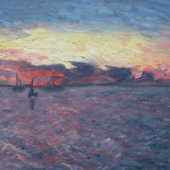 Dan-Scott-Sunset-on-the-Jetty-Kingfisher-Bay-Oil-12x16-Inches-2017
