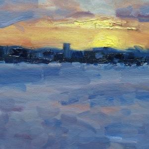 Dan-Scott-Brisbane-Sunset-Oil-12x16-Inches-2017