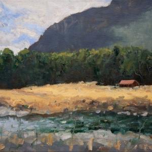 Dan-Scott-New-Zealand-Red-House-Oil-12x16-Inches