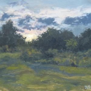 Dan-Scott-Sunset-Through-The-Trees-Nundah-Oil-12x16-Inches-2016