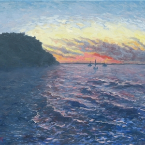 Dan-Scott-Three-Boats-At-Kingfisher-Bay-23.5x29-Inches-2016