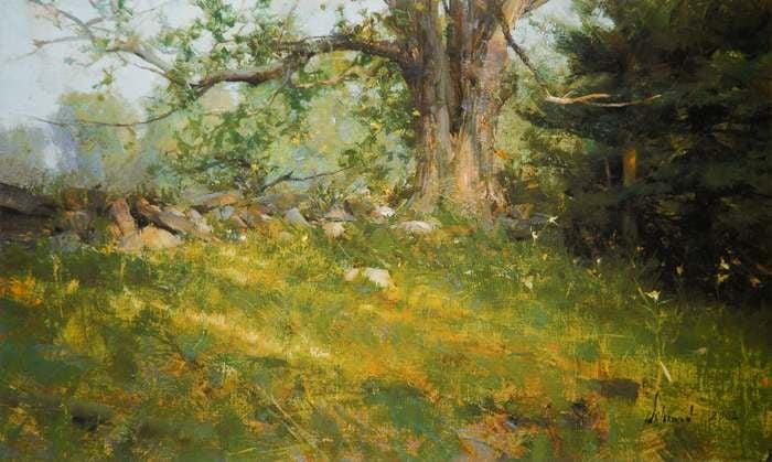 "Richard Schmid, Diana's Maple, 12x20"", Oil"