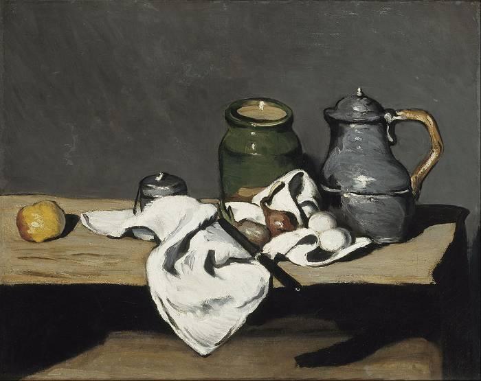 Paul Cezanne, Naturaleza muerta con un cajón abierto 1867-1869