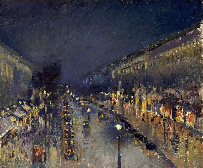 Camille Pissarro, Boulevard Montmartre by Night, 1897
