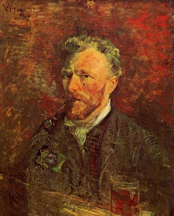 26. Vincent van Gogh, Self-Portrait With Pipe And Glass, 1887