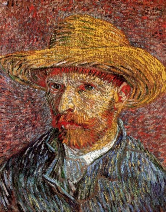 27. Vincent van Gogh, Self-Portrait With Straw Hat, 1887