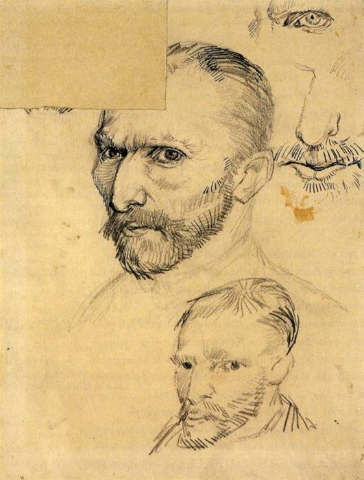 9. Vincent van Gogh, Two Self-Portraits And Several Details, 1886