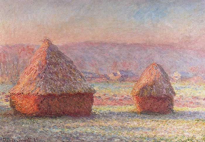 Claude Monet, Haystacks - White Frost, Sunrise, 1890