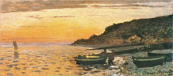 Claude Monet, Seacoast At Saint-Adresse, Sunset, 1864