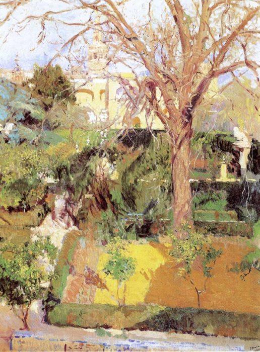 Joaquin Sorolla, Gardens Of The Alcazof Seville In Wintertime, 1908