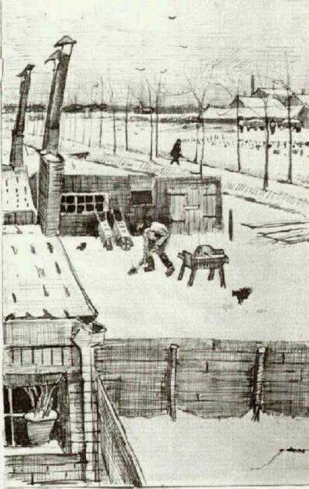 Vincent van Gogh, Snowy Yard, 1883