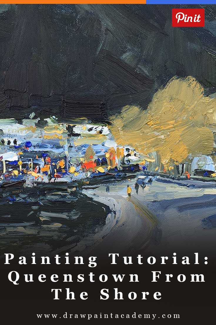 Painting Tutorial - Queenstown From The Shore. Learn how to paint this beautiful New Zealand scene in oils.