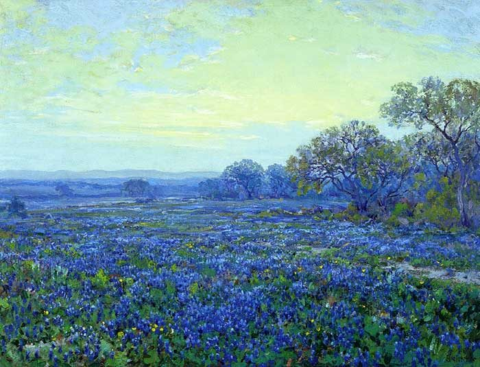 Robert Julian Onderonk, Field Of Bluebonnets Under Cloudy Sky, Date Unknown