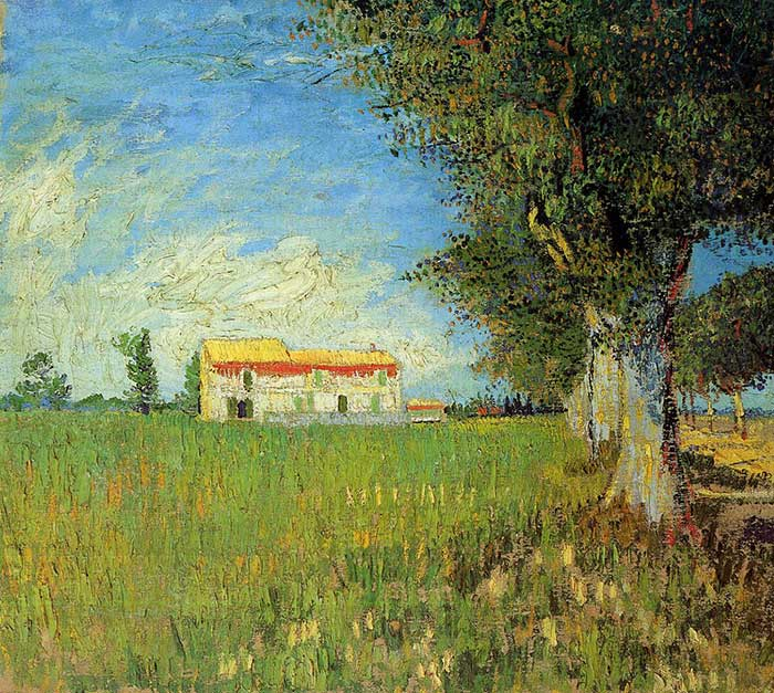 Vincent van Gogh, Farmhouse In A Wheat Field, 1888