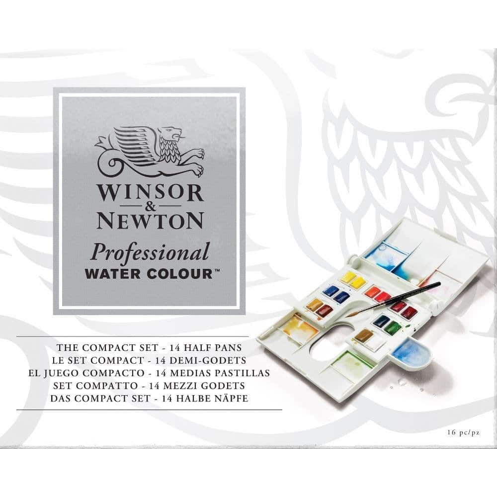 Winsor & Newton Professional Water Color Compact Set - Watercolor Art Supplies For Beginners