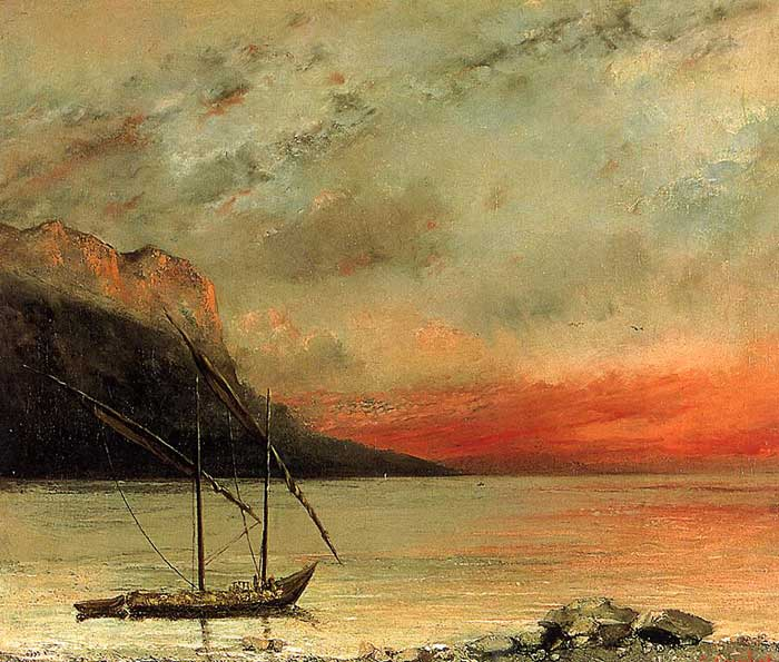 Gustave Courbet, Sunset Over Lake Leman, 1874