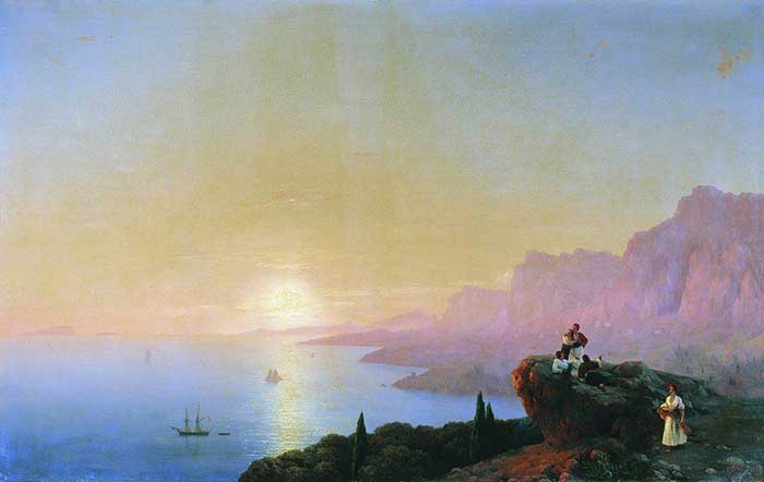Ivan Aivazovsky, Sea Bay, 1842. A step by step tutorial on how to paint a beautiful sunset in oils or acrylics.