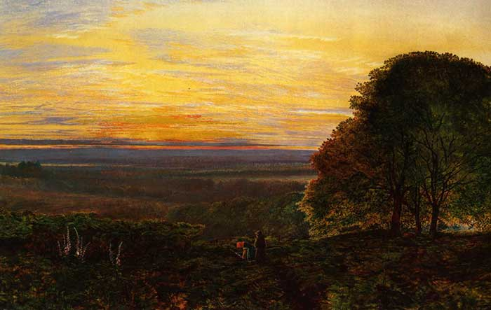 John Atkinson Grimshaw, Sunset From Chilworth Common, Hampshire. A step by step tutorial on how to paint a beautiful sunset in oils or acrylics.
