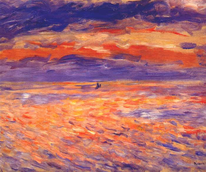 Pierre-Auguste Renoir, Sunset At Sea, 1879. A step by step tutorial on how to paint a beautiful sunset in oils or acrylics.