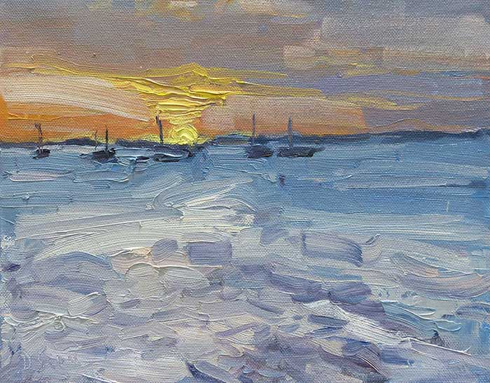 Sunset Study, Kingfisher Bay, Oil, 10x12 Inches, 2017