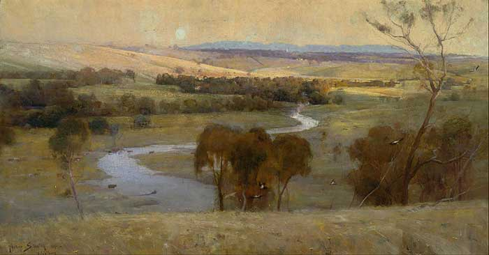 Arthur Streeton, Still Glides The Stream, And Shall For Ever Glide, 1890