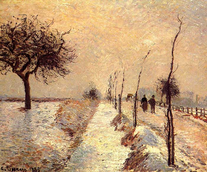 Paleta de colores análogos |  Camille Pissarro, camino a Eragny, invierno, 1885
