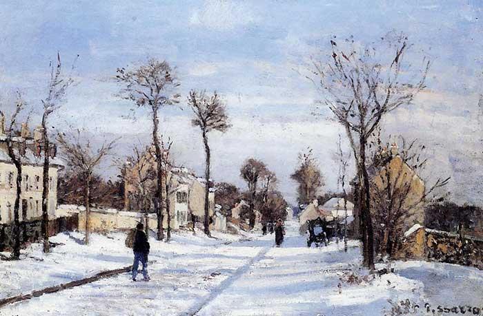 Camille Pissarro, calle en la nieve, Louveciennes, 1872
