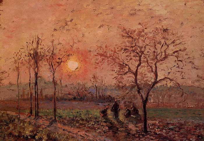 Paleta de colores análogos |  Camille Pissarro, Sunset, 1872
