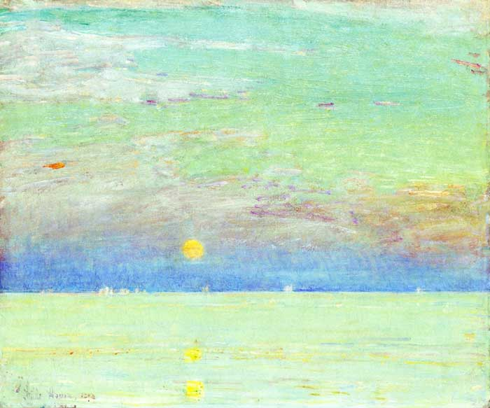 Childe Hassam, Moonrise At Sunset, 1892