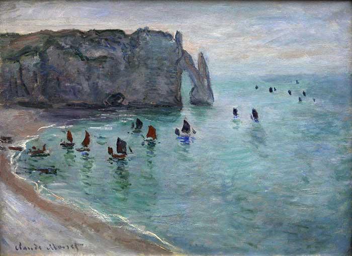 Claude Monet, Etretat The Aval Door Fishing Boats Leaving The Harbour, 1885