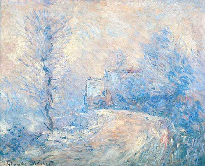 Claude Monet, The Entrance To Giverny Under The Snow, 1885
