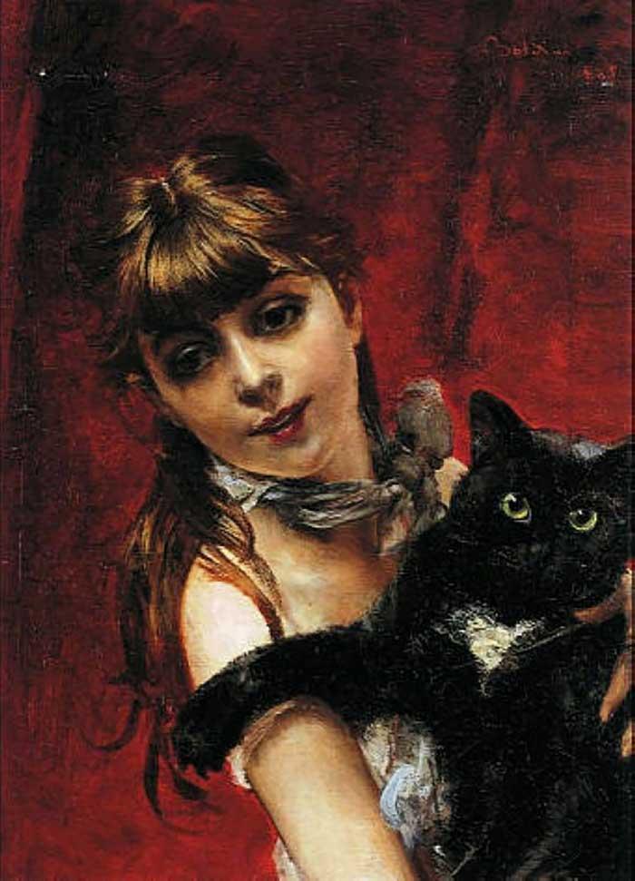 Giovanni Boldini Woman | Portrait Inspiration | Giovanni Boldini, Girl With Black Cat, 1885