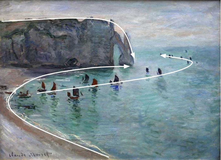 Leading Lines - Claude Monet, Etretat The Aval Door Fishing Boats Leaving The Harbour, 1885