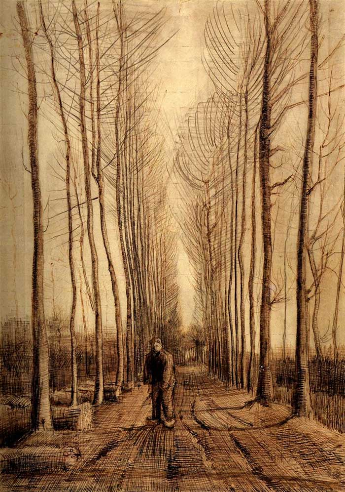 One Point Perspective | Drawing | Painting | One Point Perspective Art Lessons | Vincent van Gogh, Avenue Of Poplars, 1884