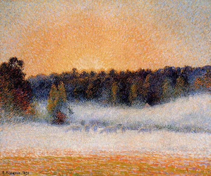 Camille Pissarro, Setting Sun And Fog, Eragny, 1891
