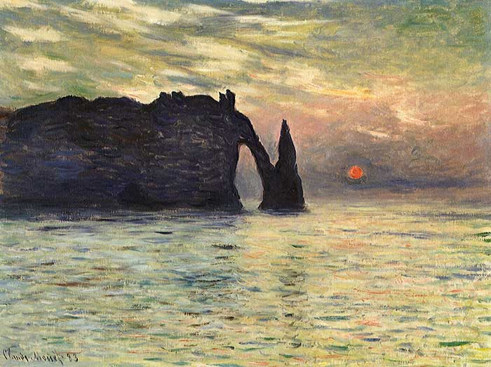 Claude Monet, The Manneport, Cliff At Etretat, Sunset, 1883
