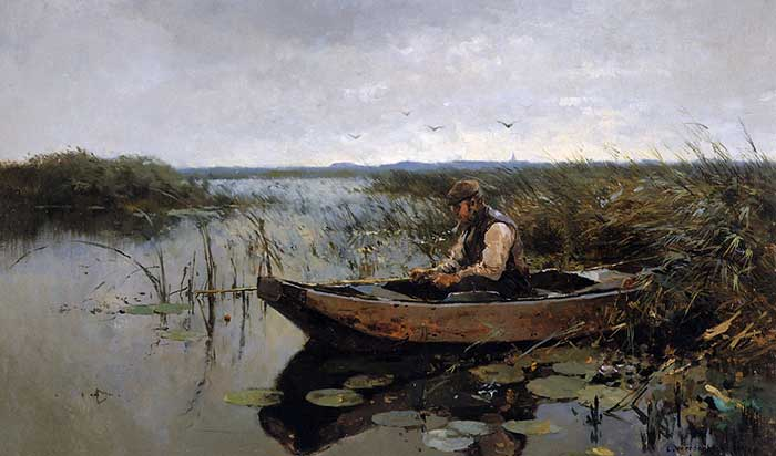 Cornelis-Vreedenburgh-Fisherman-On-A-Poldercanal