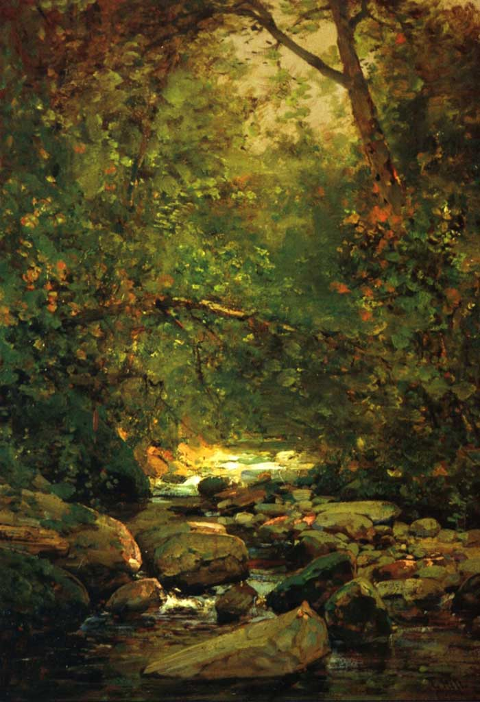 Thomas Hill, Stream In Forest Winter