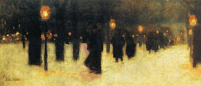 Childe Hassam, Across The Common On A Winter Evening, 1885