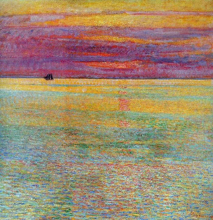 Childe Hassam, puesta de sol en el mar, 1911