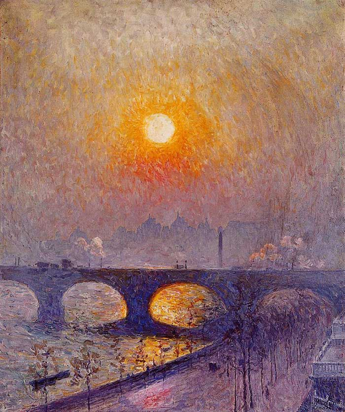 Emile Claus, Sunset Over Waterloo Bridge, 1916