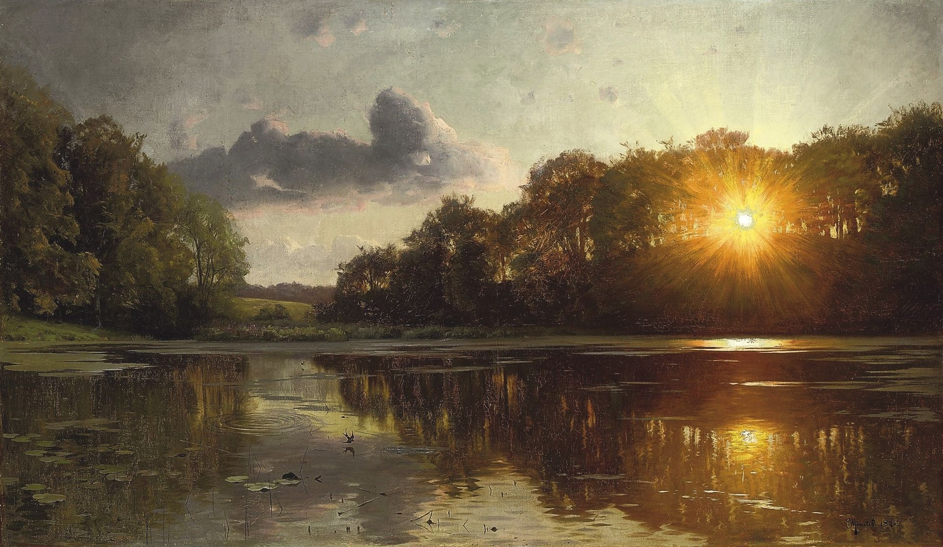 Peter Mork Monsted, Sunset Over A Forest Lake