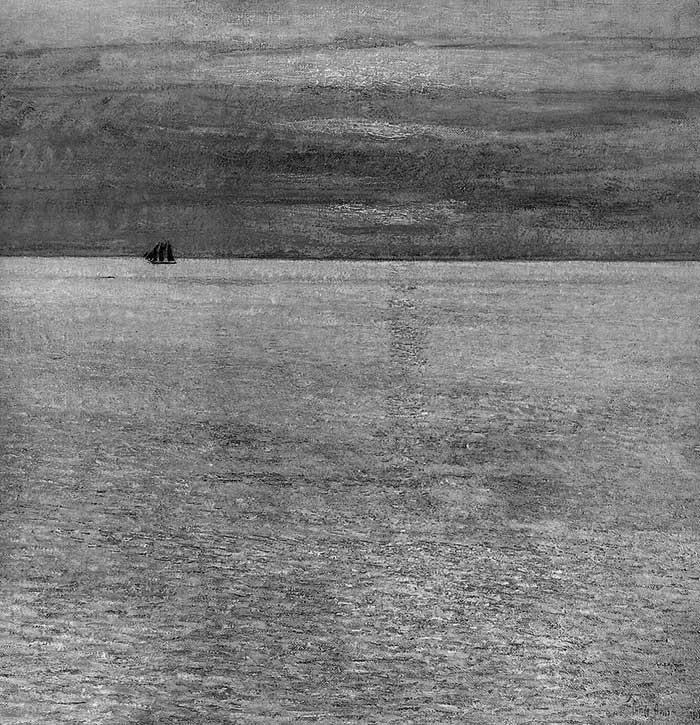 Childe Hassam, puesta de sol en el mar, escala de grises de 1911