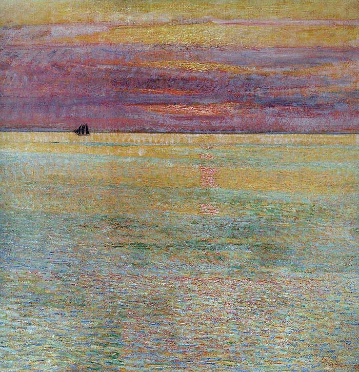 Childe Hassam, Sunset At Sea, 1911 Low Saturation