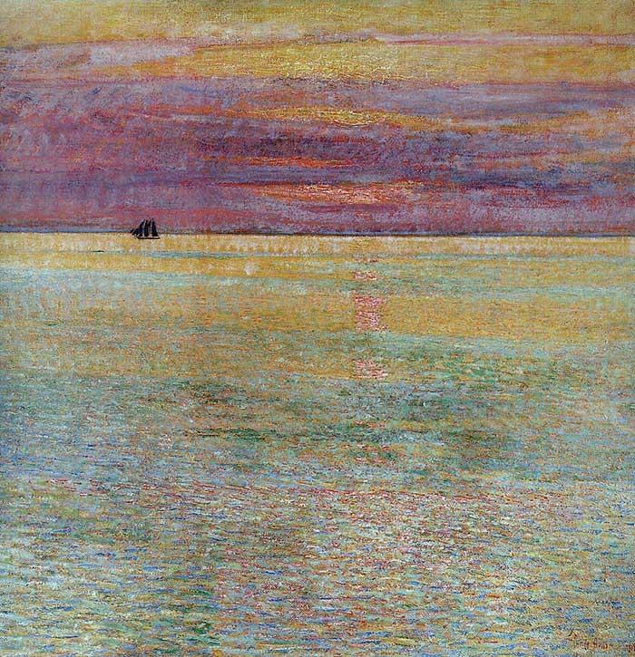 Childe Hassam, Puesta de sol en el mar, 1911 Baja saturación