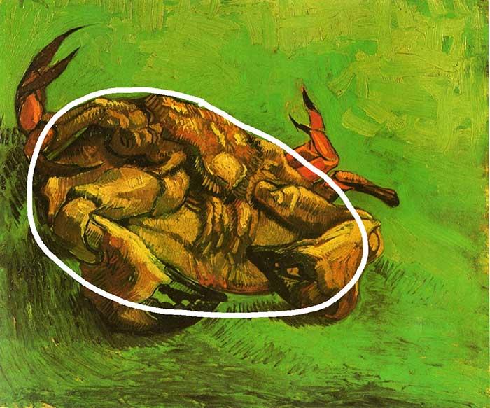 Vincent van Gogh, cangrejo sobre su espalda, 1889