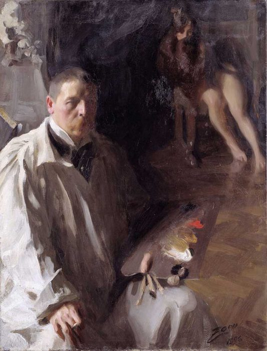 Anders Zorn, Self Portrait With Model, 1896