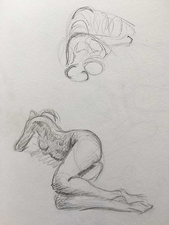 Gesture Drawing - Female 5 Minute Poses - Pencil