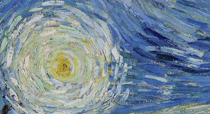 Vincent van Gogh, Starry Night, 1889, Up Close 2