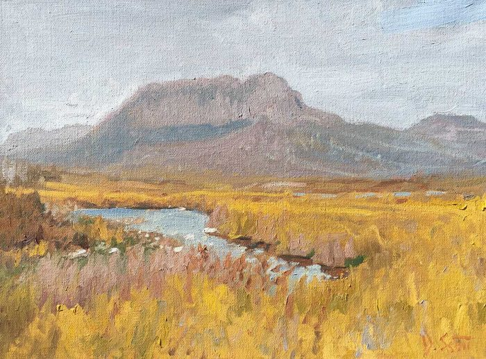 Overland Track, Yellow Landscape, Oil, 12x16 Inches, 2018